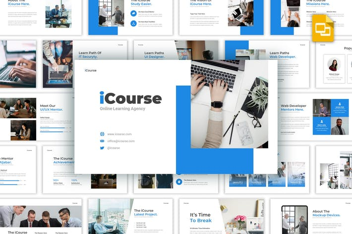 Thumbnail for iCourse - Online Learning Google Slides Template