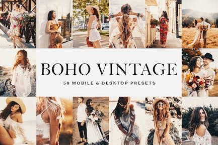 50 Boho Vintage Lightroom Presets and LUTs