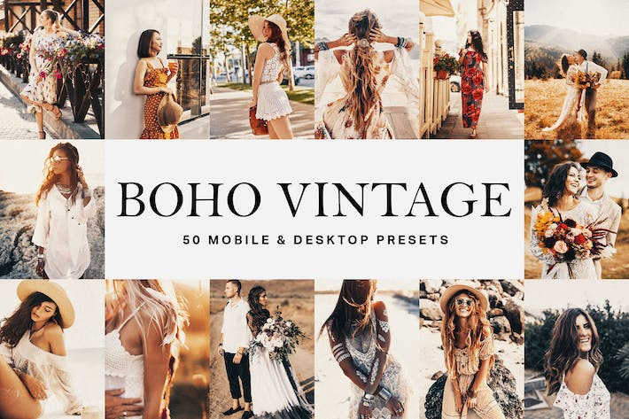 Thumbnail for 50 Boho Vintage Lightroom Presets and LUTs