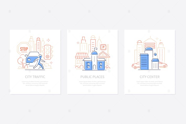 Thumbnail for Tourist information - line design style banners