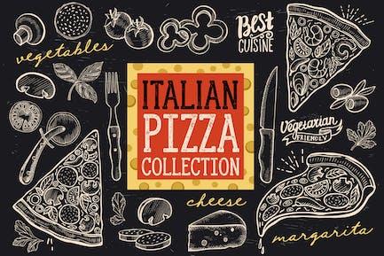 Italian Pizza Doodle Elements