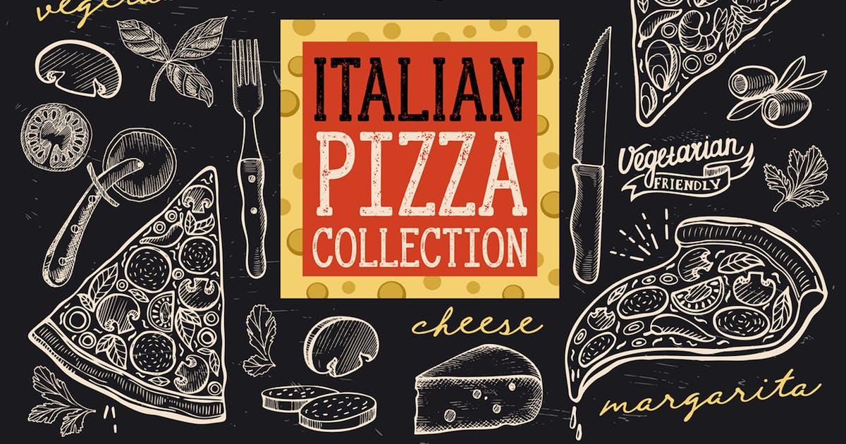 Download Italian Pizza Doodle Elements by BarcelonaDesignShop