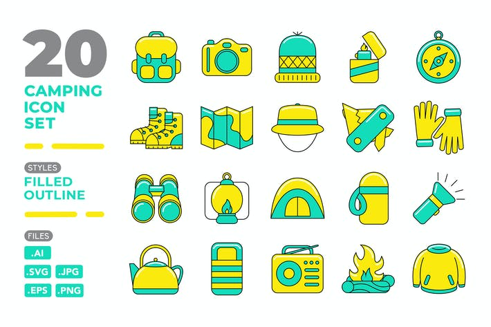 Camping Icon Set (Filled Outline)