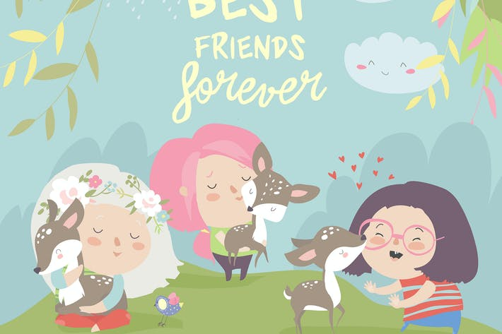 Thumbnail for Funny cartoon girls with cute deer.Best friends.