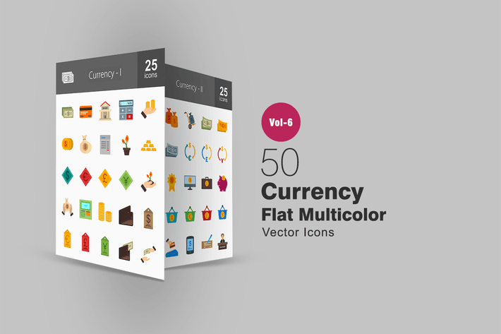 Thumbnail for 50 Currency Flat Multicolor Icons