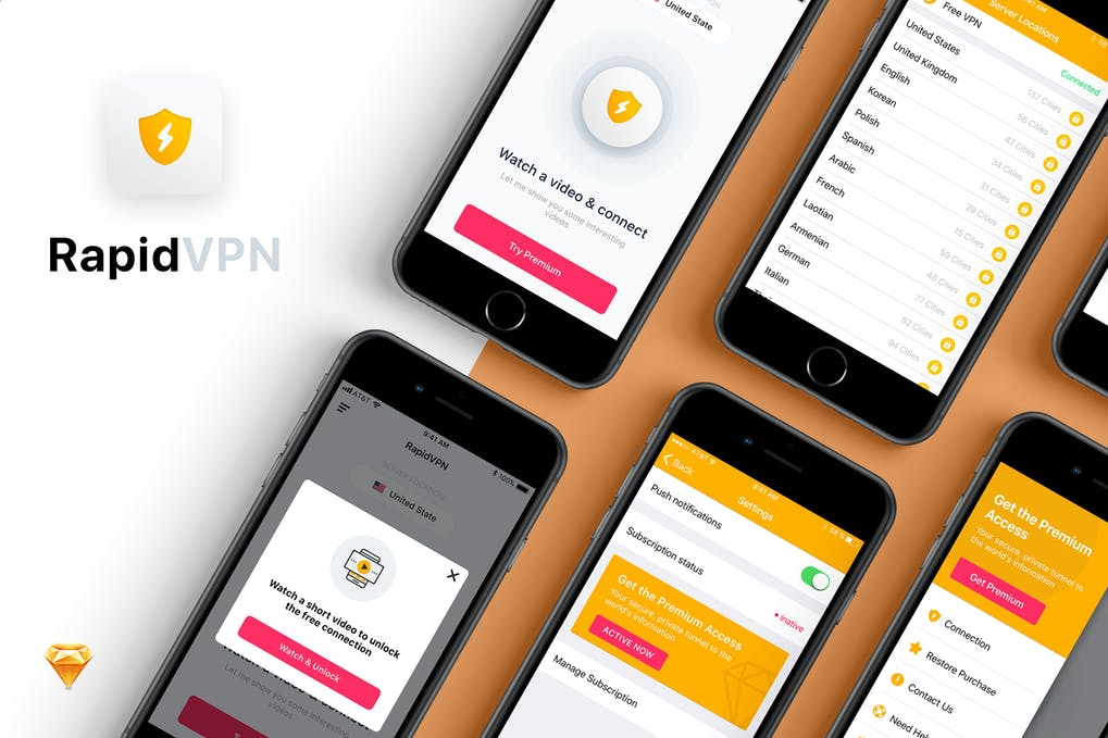 Rapid VPN mobile app UI Kit in user interface website design