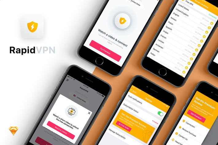 Thumbnail for Rapid VPN mobile app UI Kit