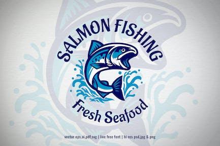 salmon fish seafood logo