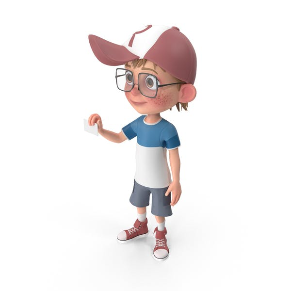 Cartoon Boy Holding a Sign