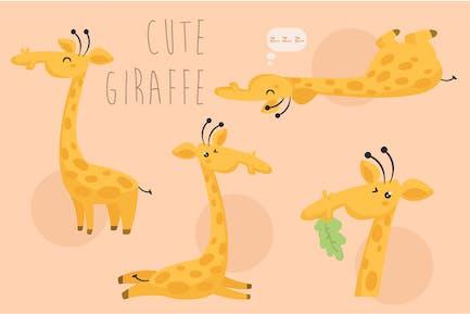 Cartoon-Giraffen-Pack-Illu