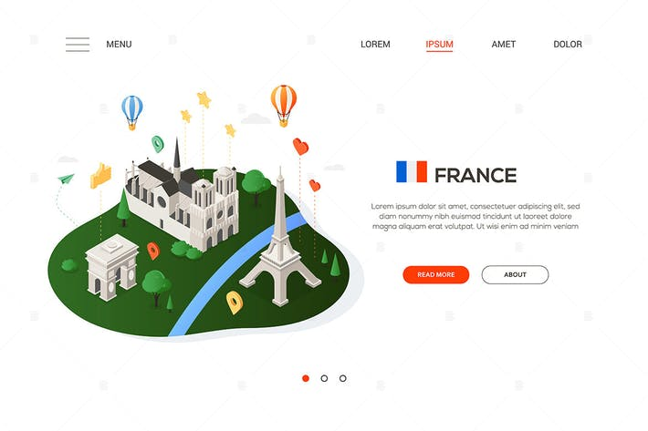 Thumbnail for Visit France - colorful isometric web banner