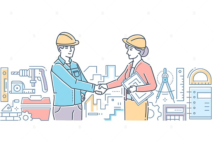 Thumbnail for Construction firm - line design style illustration