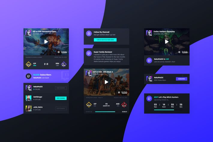Thumbnail for Asgard Plugin - Twitch UI Cards - PSD Template