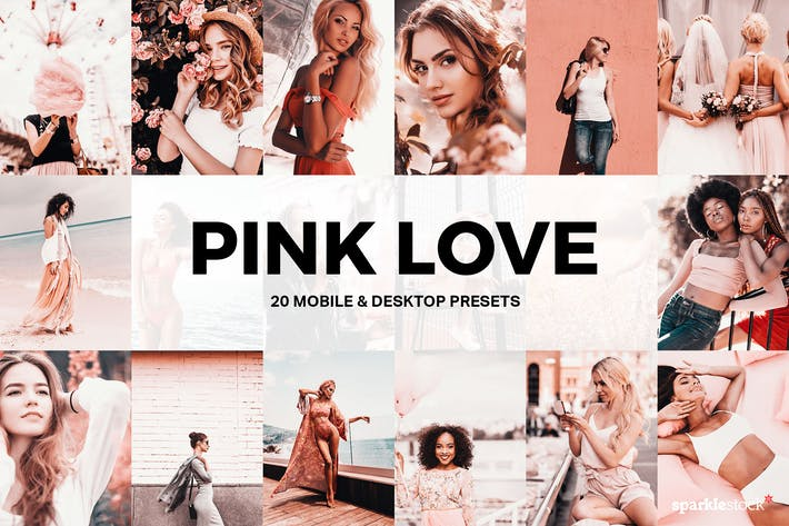 Thumbnail for 20 Pink Love Lightroom Presets and LUTs
