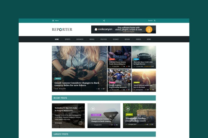 Thumbnail for Max Reporter - HTML Magazine Template