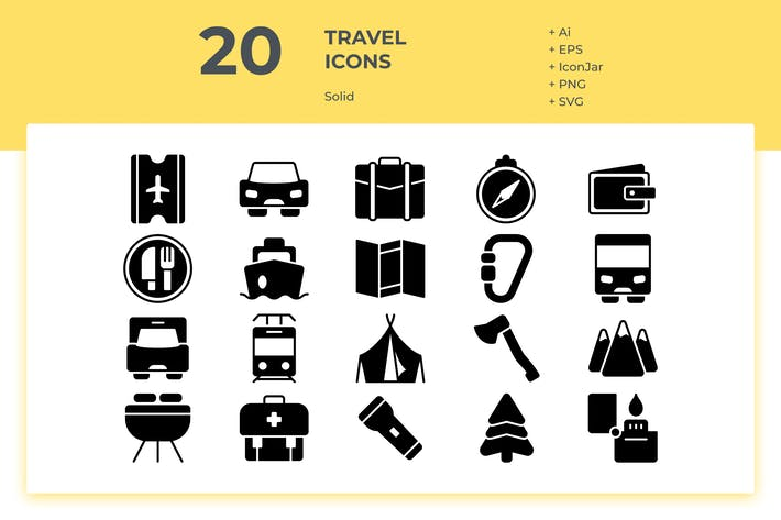 Thumbnail for 20 Travel Icons (Solid)