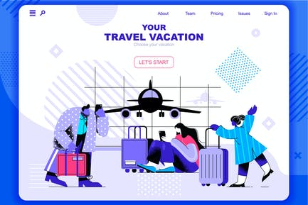 Travel Vacation Flat Concept Landing Page Header