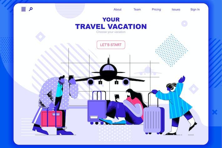 Thumbnail for Путешествие Отпуск Плоская Концепция Лендинг Заголовок страницы