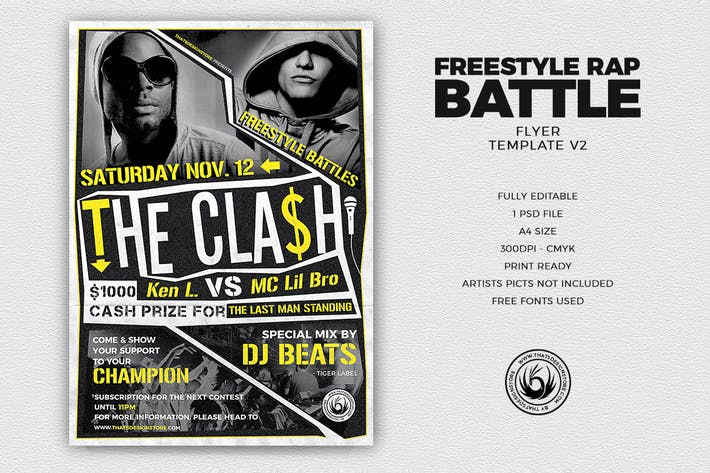 Thumbnail for Freestyle Rap Battle Flyer Template V2