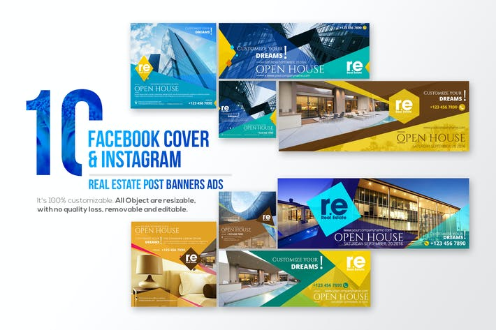 Thumbnail for 10 Facebook Cover & 10 Instagram Real Estate Post