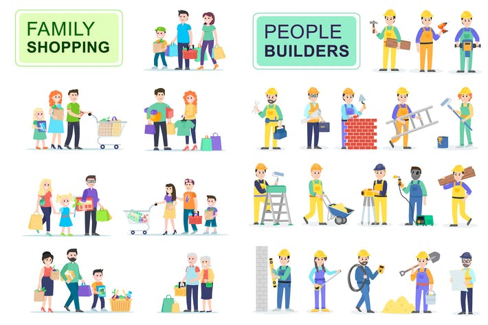 Thumbnail for Shoppers and Builders Flat People Characters