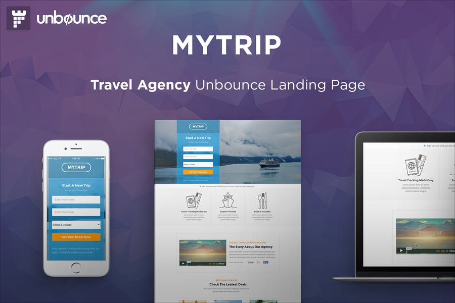 MyTrip - Travel Agency Unbounce Template