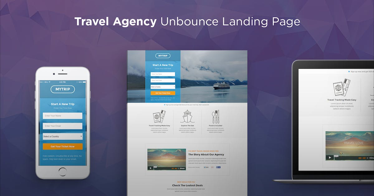 Download MyTrip - Travel Agency Unbounce Template by PixFort