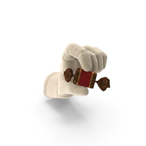 Handschuh hält eine eingewickelte rote Toffe