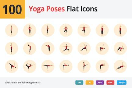 Yoga Poses Íconos Planos Vol 1