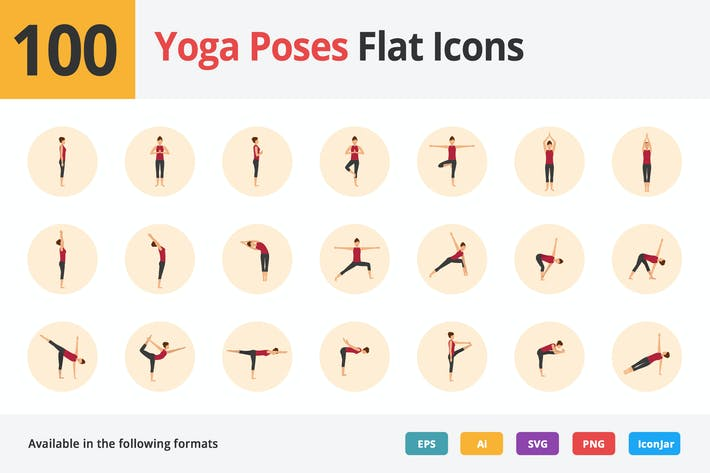 Thumbnail for Yoga Poses Plat Icones Vol 1