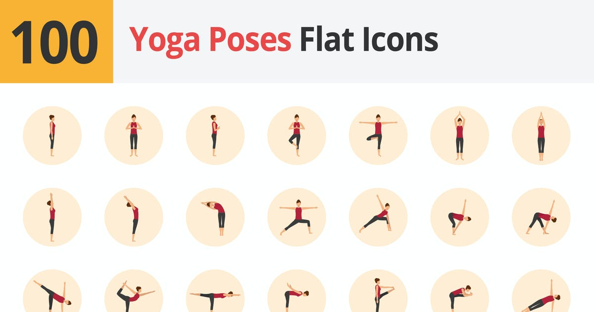 Download Yoga Poses Flat Icons Vol 1 by roundicons
