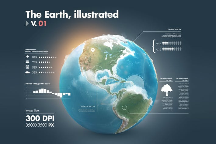 Thumbnail for Illustrations of the Earth with Infographics v1
