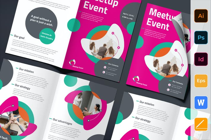 Thumbnail for Meetup Event Brochure Bifold