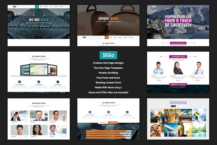 Thumbnail for Stilo - Creative Parallax One Page MUSE Template