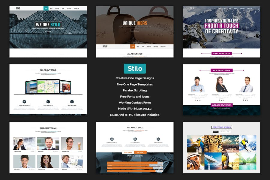 Stilo - Creative Parallax One Page MUSE Template