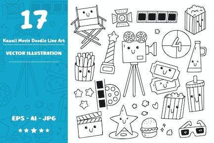 Kawaii Movie Doodle Line Art