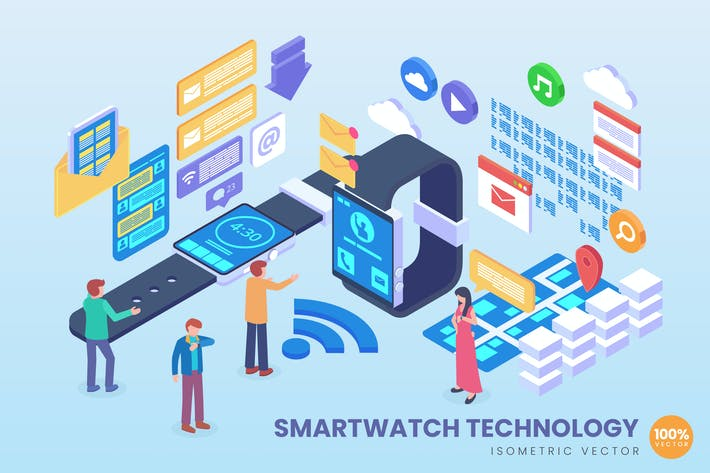 Thumbnail for Isometric Smart Watch Technology Vector Concept