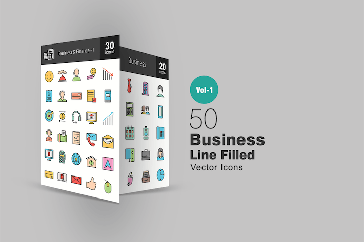 Thumbnail for 50 Business Line Filled Icons