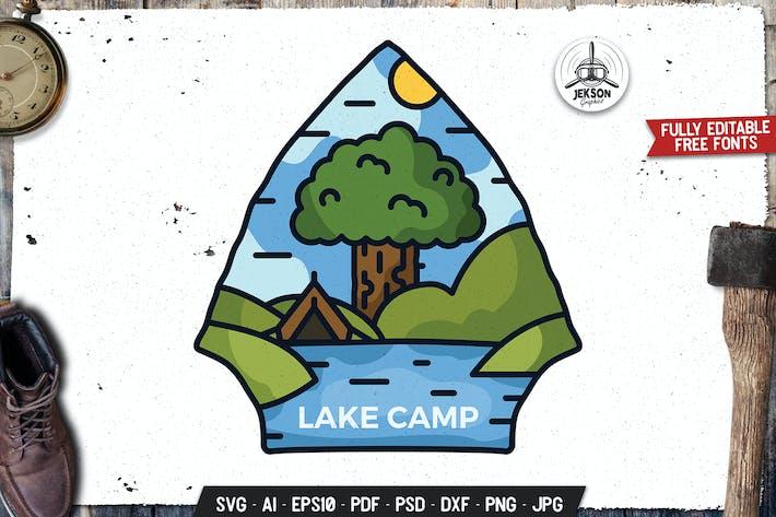 Thumbnail for Lake Camp Art Emblem Modern Logo SVG. Retro Design