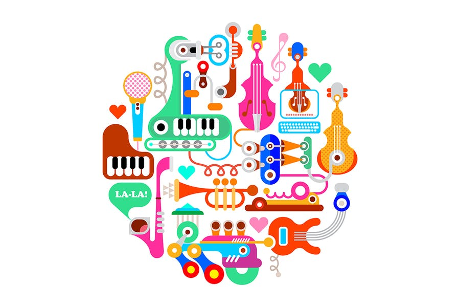 Round Shape Vector Image with Musical Instruments