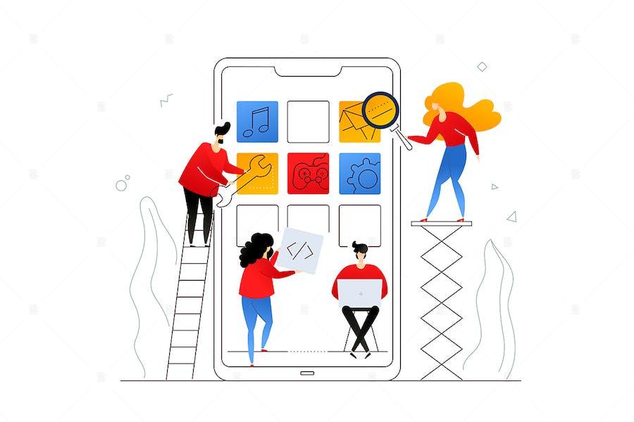 Entwicklung mobiler app - flaches Design Illustration