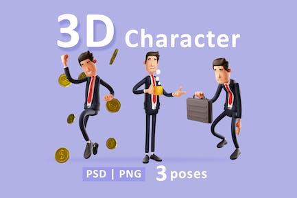 Geschäftsmann - 3D-Charaktere mit 3 verschiedenen Posen