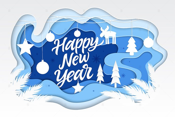 Thumbnail for Happy New Year - vector paper cut illustration