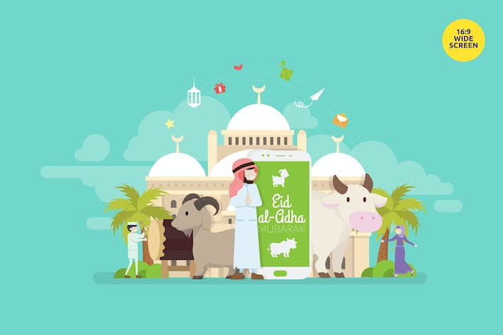 Thumbnail for Eid Al Adha Mubarak Vector Illustration Concept 3