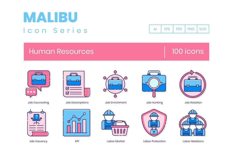 100 Human Resources Line Icons