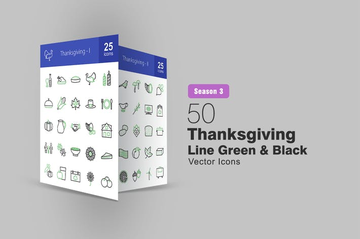 50 Thanksgiving Line Green & Black Icons