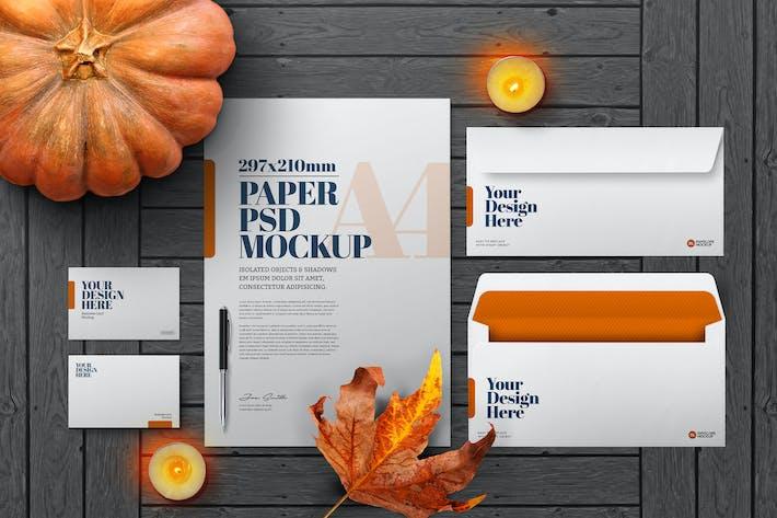 Thumbnail for Halloween Autumn Stationery Mockup