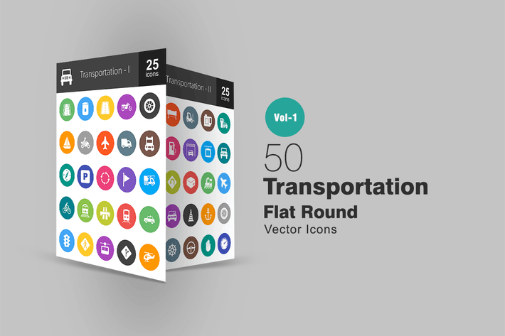 Thumbnail for 50 Transportation Flat Round Icons