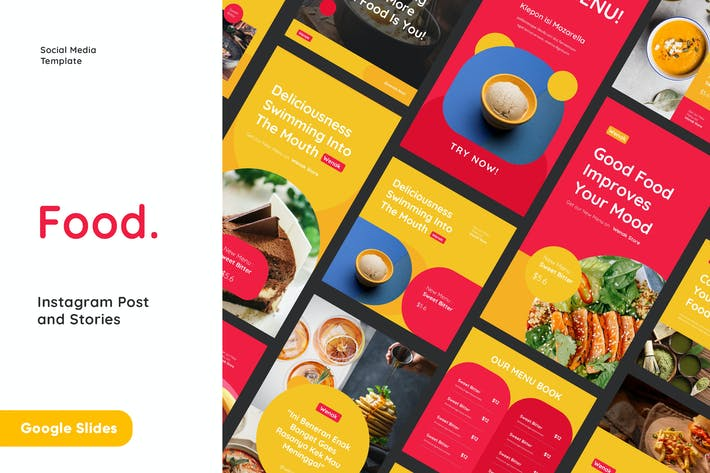 Thumbnail for Food Instagram Post and Stories Google Slides