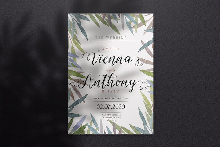Thumbnail for Watercolor Wedding Invitation - Style 04